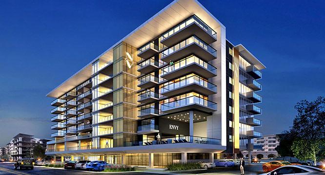 Rendering of Envy Residences building in Scottsdale at night