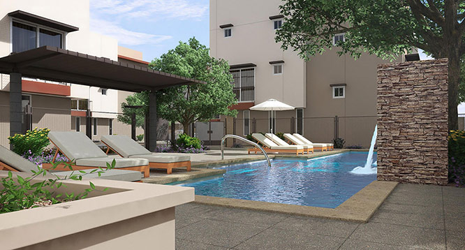 Exterior rendering of community pool at Aerium in Scottsdale
