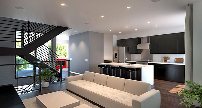 Living room & kitchen rendering at Aerium in Scottsdale