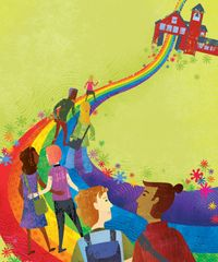 An illustration of a group of children walking a rainbow path to school