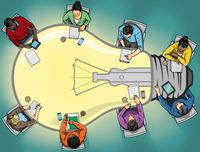 Illustration of teachers sitting around a table shaped like a lightbulb