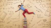 Child in an excited pose on a background of books and math formulas