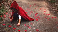 Young girl in a red velvet hooded cape, picking flower petals off the ground