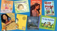 Eight children's book covers: Hirome's Hands, Juna's Jar, Amina's Voice, Step Up to the Plate, Cora Cooks Pancit, American Born Chinese, A Different Pond, and The Ugly Vegetables