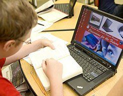 Laptops for Lessons:  Fremont Area High School uses Classrooms For the Future laptops in many of its classes.