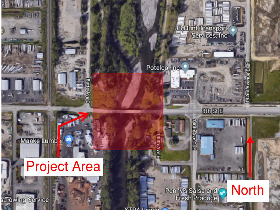 Map showing project area on Stewart Rd/8th Street over White River.