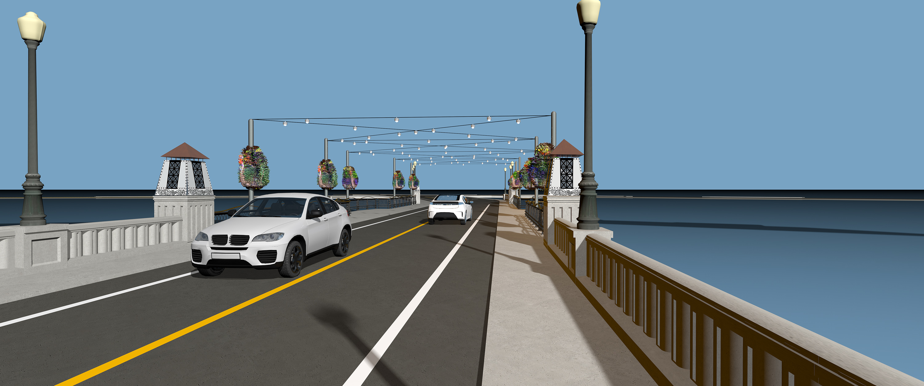 Rendering of new bridge by day with lights, flower baskets and cars on it.