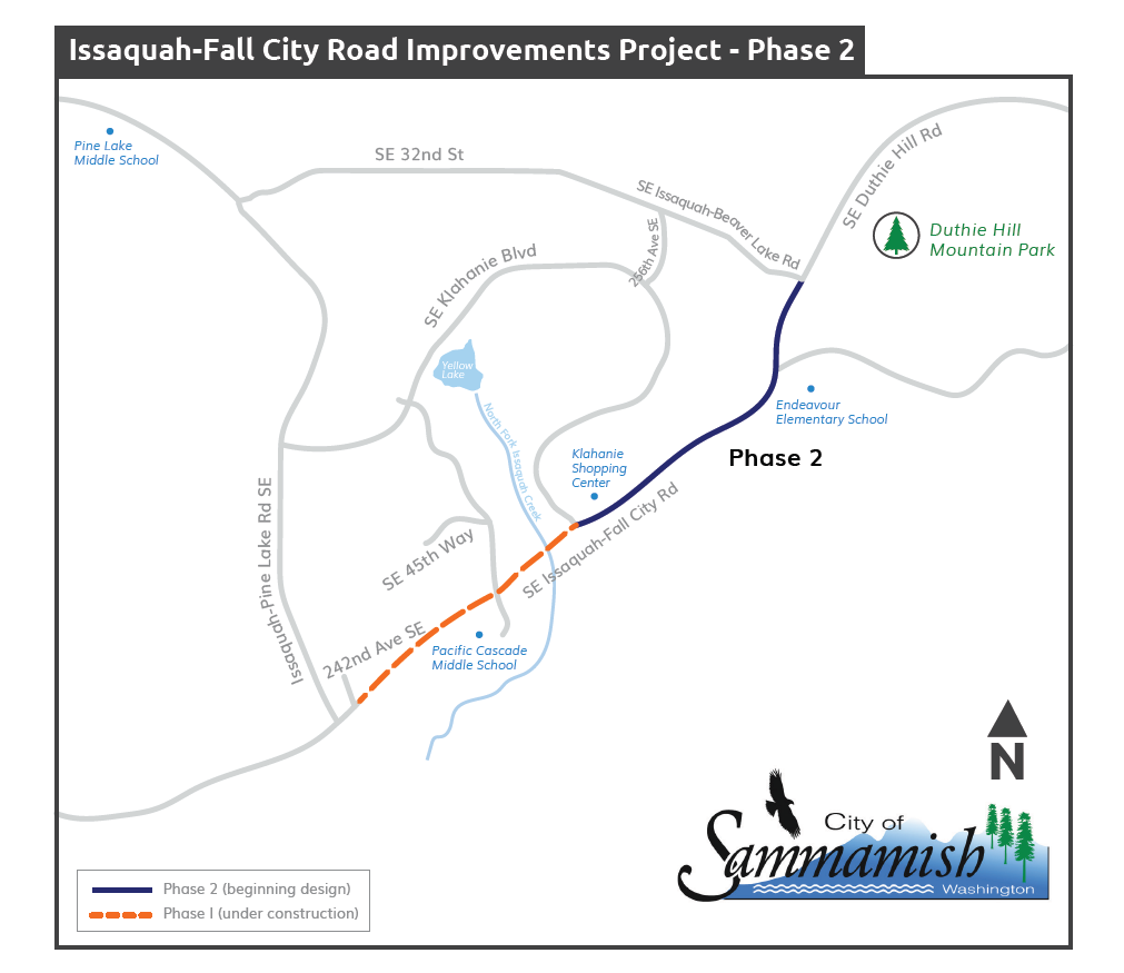 An aerial map of the Issaququah-Fall City roada-Fall City Road Improvements Project Phase two area. A orange dotted line that runs along Issaquah-Fall City Road between two hundred and forty second Avenue South East and South East Klahanie boulevard denotes the phase one project area that is currently under construction. Below the orange line is a blue dot that denotes Pacific Cascade Middle School A dark blue line between South East Klahanie boulevard and South East Issaquah-Beaver Lake Road denotes the phase two project area that is beginning design. An image of a tree at the upper right side of the map denotes the Duthie Hill Mountain Park. Below the Duthie Hill Mountain Park is a blue dot that denotes Endeavor Elementary School.