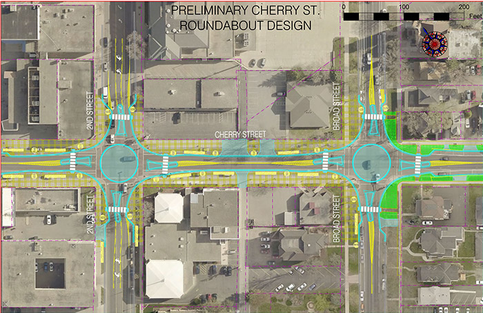 Preliminary Cherry Street roundabout design