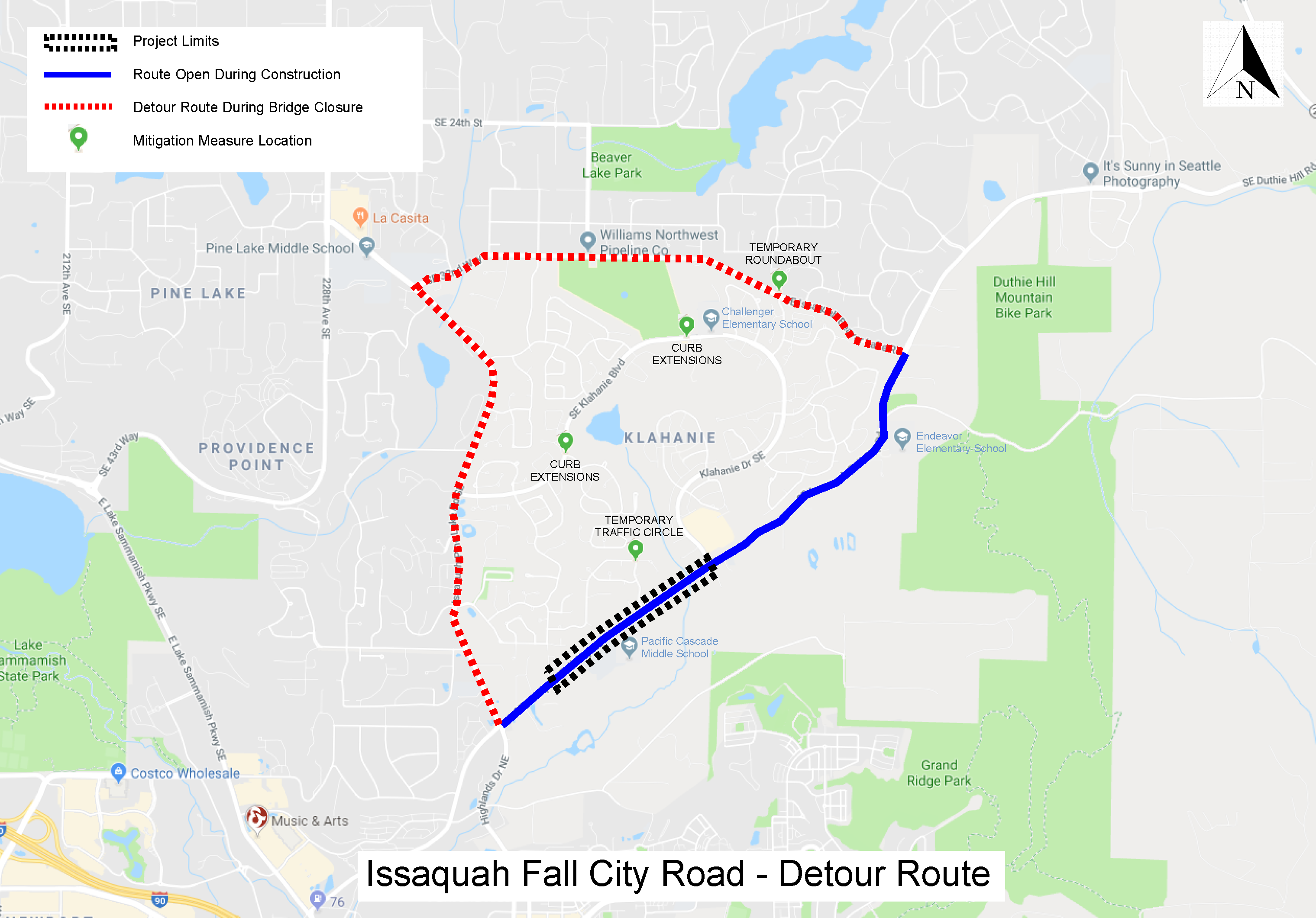 Issaquah Fall City Road - Detour Route. Starting on Monday, April 20th, the roadway closure will be between 245th Lane SE and Klahanie Blvd.