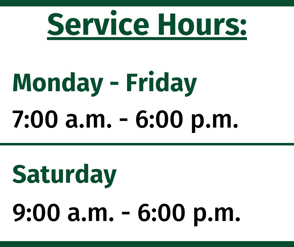 Hours of operation: 7 a.m. – 6 p.m. on weekdays, and Saturdays (beginning July 6) from 9 a.m. – 6 p.m.