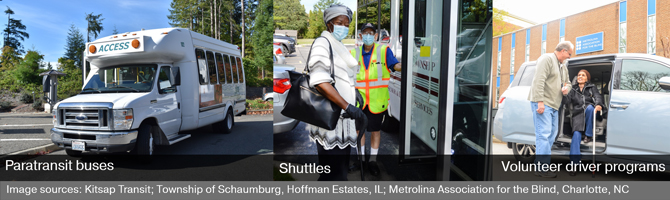 Three images showing examples of specialized transportation services including a paratransit bus, shuttle, and a private vehicle of volunteer driver program.