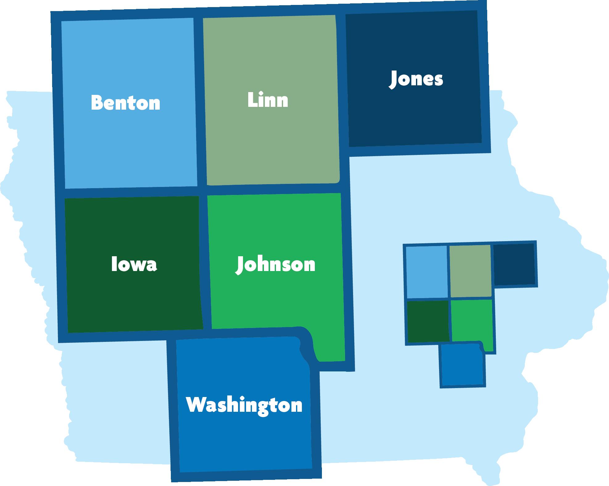 Map of Iowa showing ECICOG's region: Benton, Iowa, Johnson, Jones, Linn, and Washington Counties.