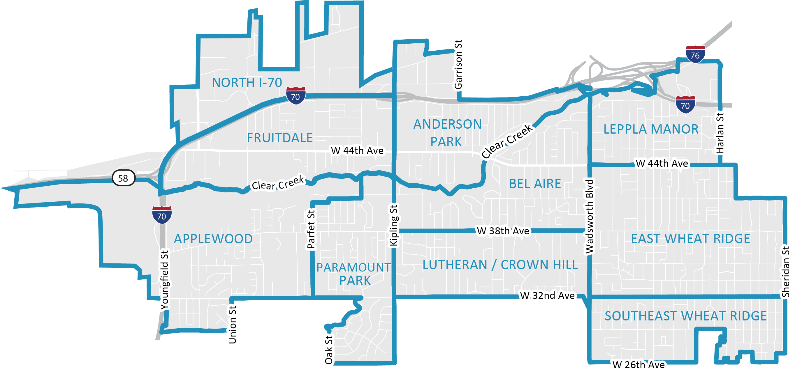 Wheat Ridge Neighborhood Map
