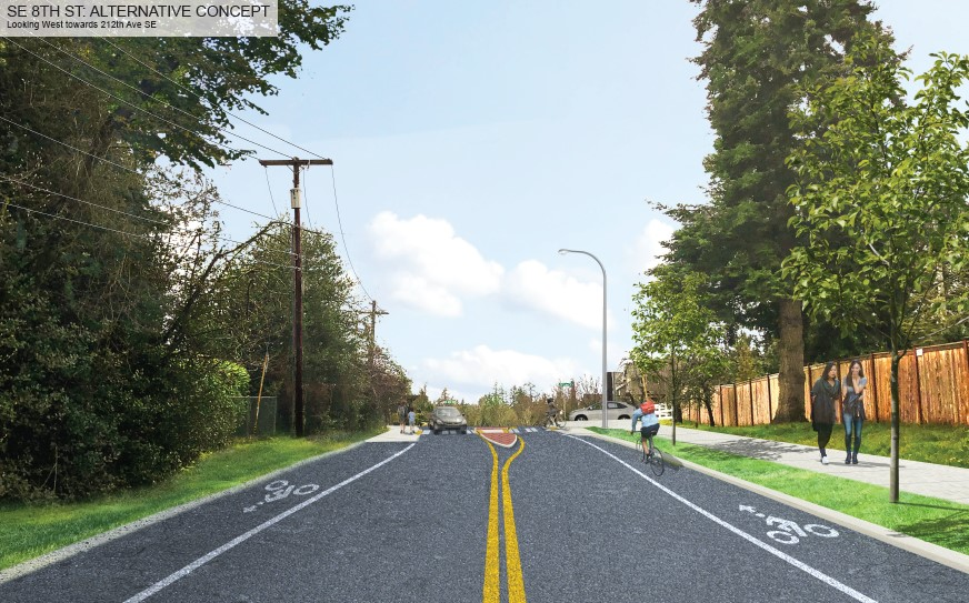 Street-level visualization of the alternative concept design, looking west on SE 8th street. The visualization shows a two-lane road with bike lanes on both sides, and people walking on a sidewalk on the right side of the road. There is a raised center median visible at the top of the road, near the intersection of 212th Ave SE.