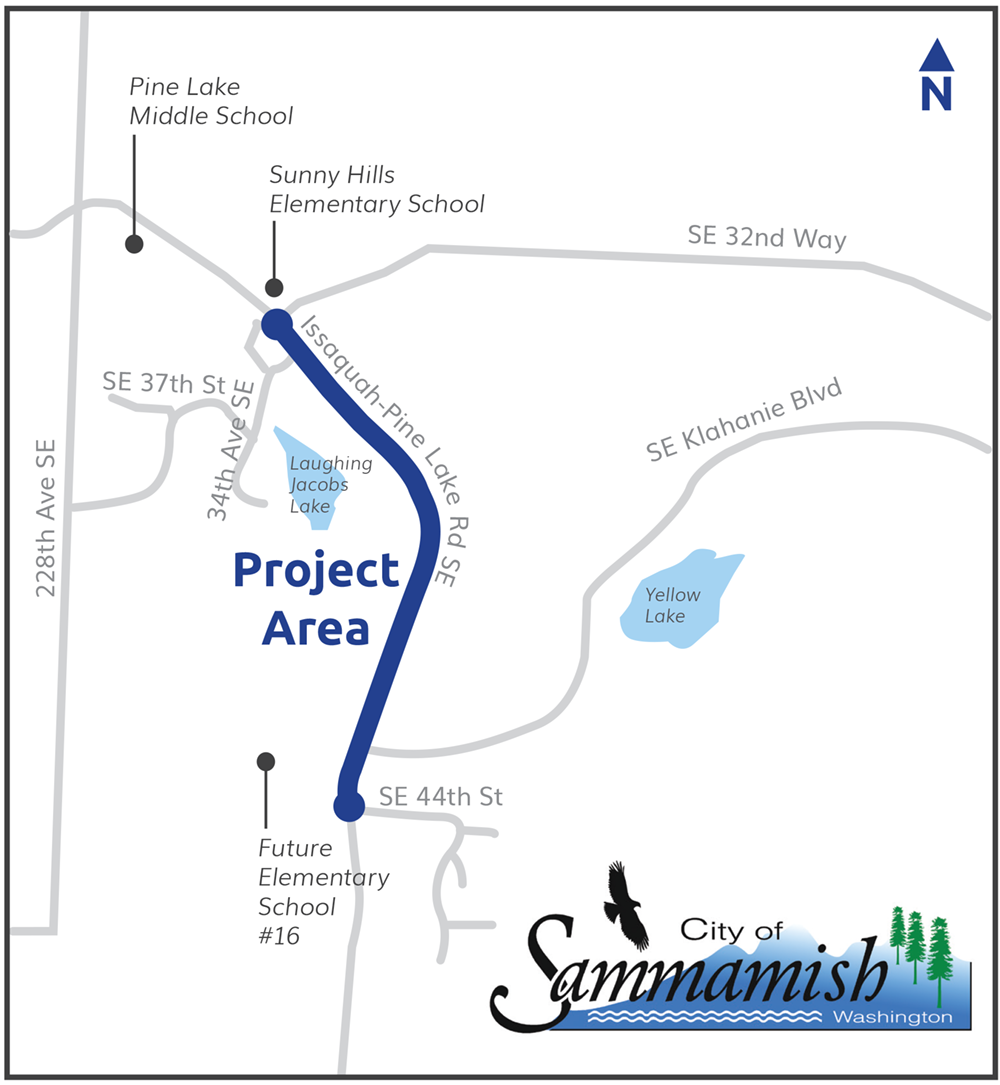 Map showing project area. Issaquah-Pine Lake Road Southeast is highlighted from Southeast 32nd Way until Southeast 44th Street. There is a roundabout at the north end of the project area near Sunny Hills Elementary School. Pine Lake Middle School and Sunny Hills Elementary School lie north of the project area. Future Elementary School number 16 lies to the southeast.