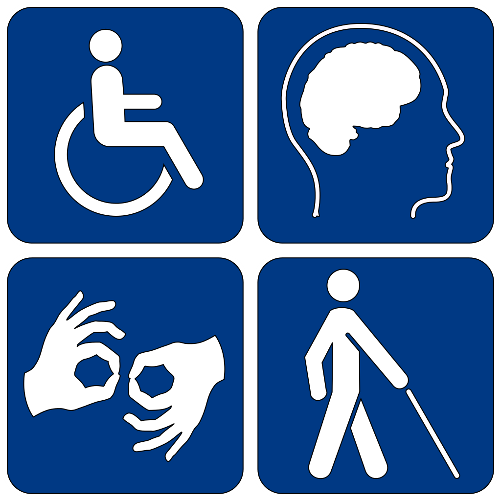 Four icons depicting a wheelchair, a brain, sign language, and a person walking with a cane