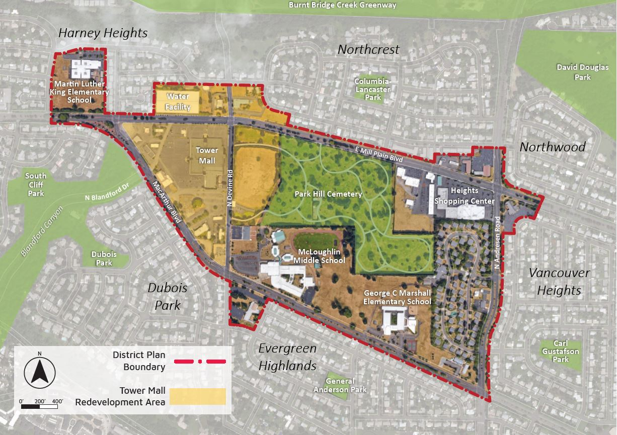 Map of the Heights District study area showing the Tower Mall Redevelopment Area and existing community assets. The District area is 205 acres bounded generally by MacArthur Boulevard, Mill Plain Boulevard, and Andresen Road.