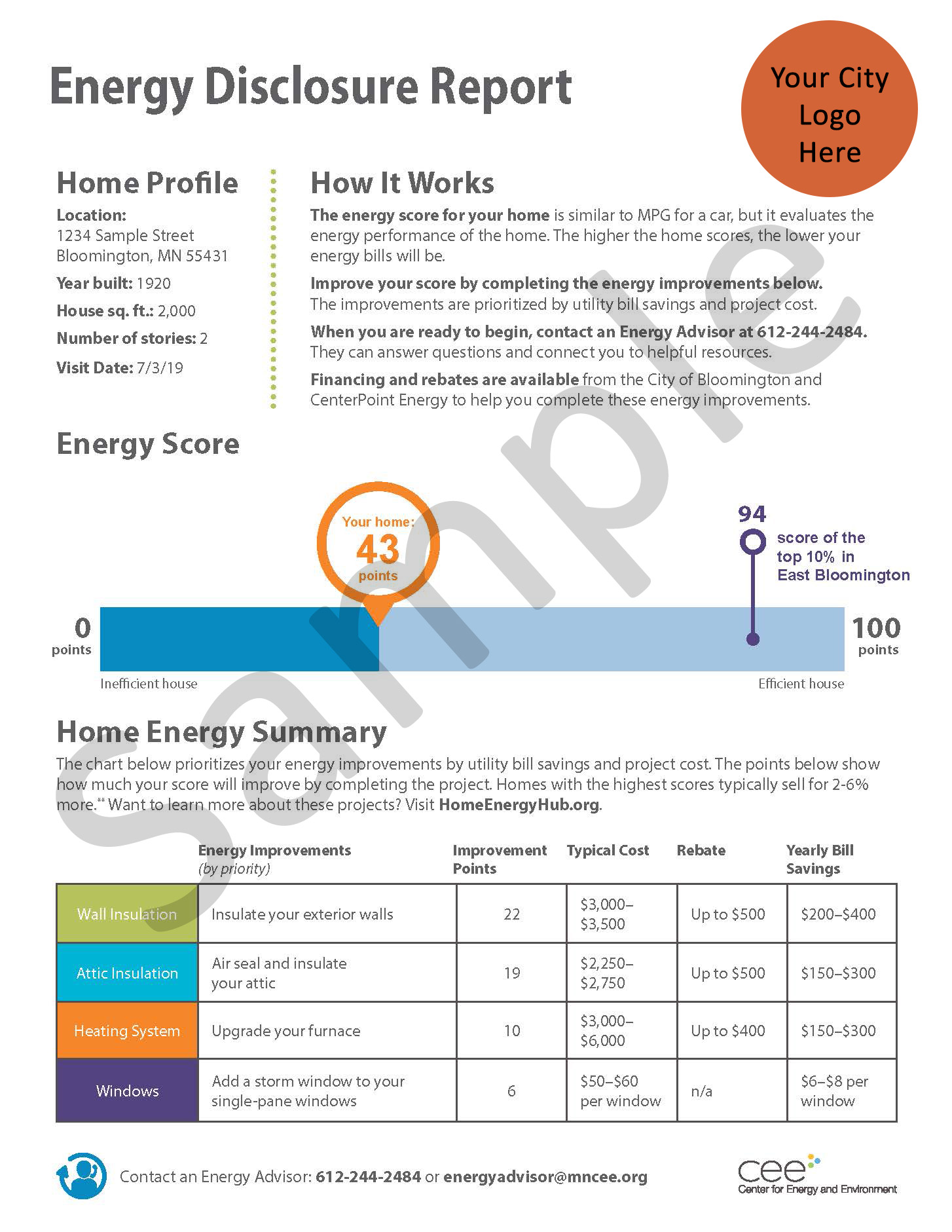 Sample first page of an energy disclosure report