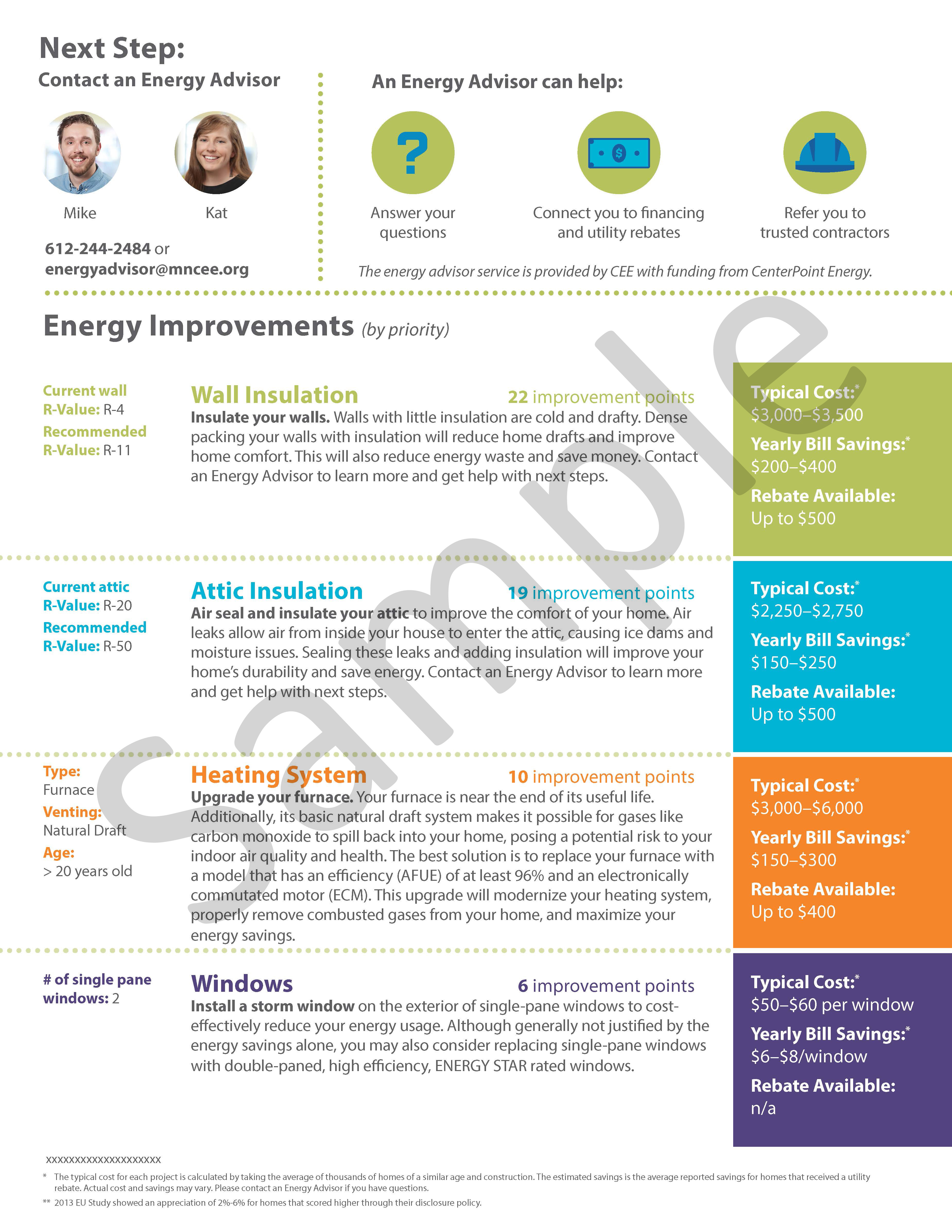 Sample second page of an energy disclosure report