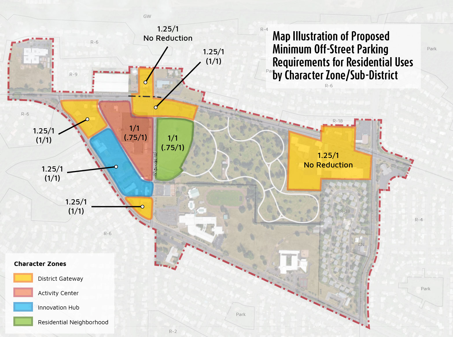 Map showing proposed minimum residential parking requirements, and proposed reductions with Transportation Demand Management (TDM), for the HX zone by sub-district. The sub-districts established for the District include the Activity Center, Residential Neighborhood, Innovation Hub, and District Gateways.