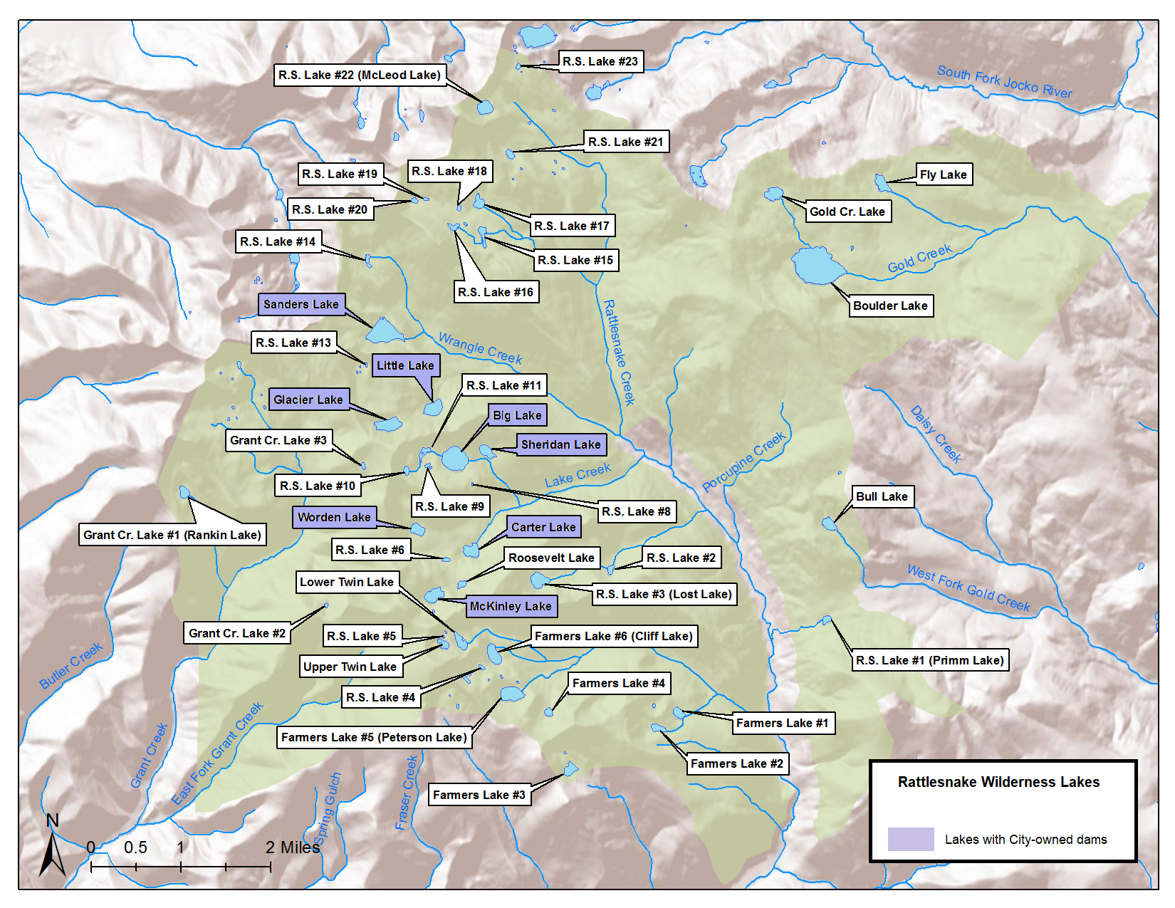 U.S. Forest Service map of all lakes in Rattlesnake Wilderness area.