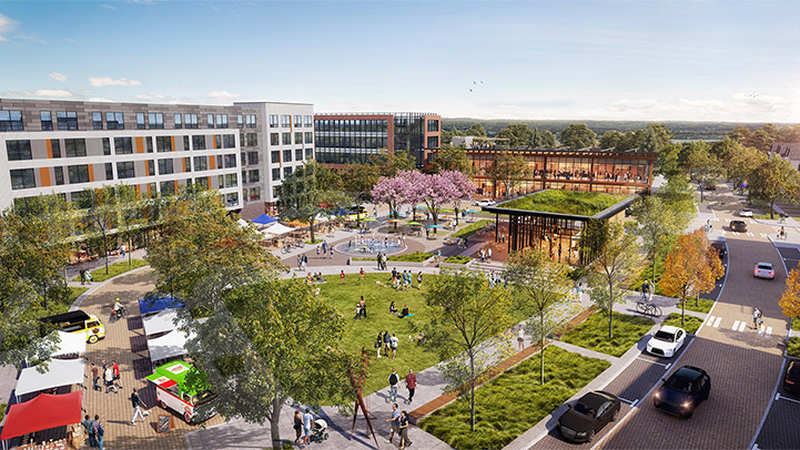 Rendering that shows the urban plaza in the Activity Center portion of the Heights District. This includes a public open space with a grassy area, trees, walking paths, outdoor seating, and a water feature. There is a roadway along the outside of the plaza with pavers and crosswalks, on-street parking, and street trees. Buildings are between three and six stories tall with ground floor commercial uses like restaurants and shops, and housing and hospitality uses above.