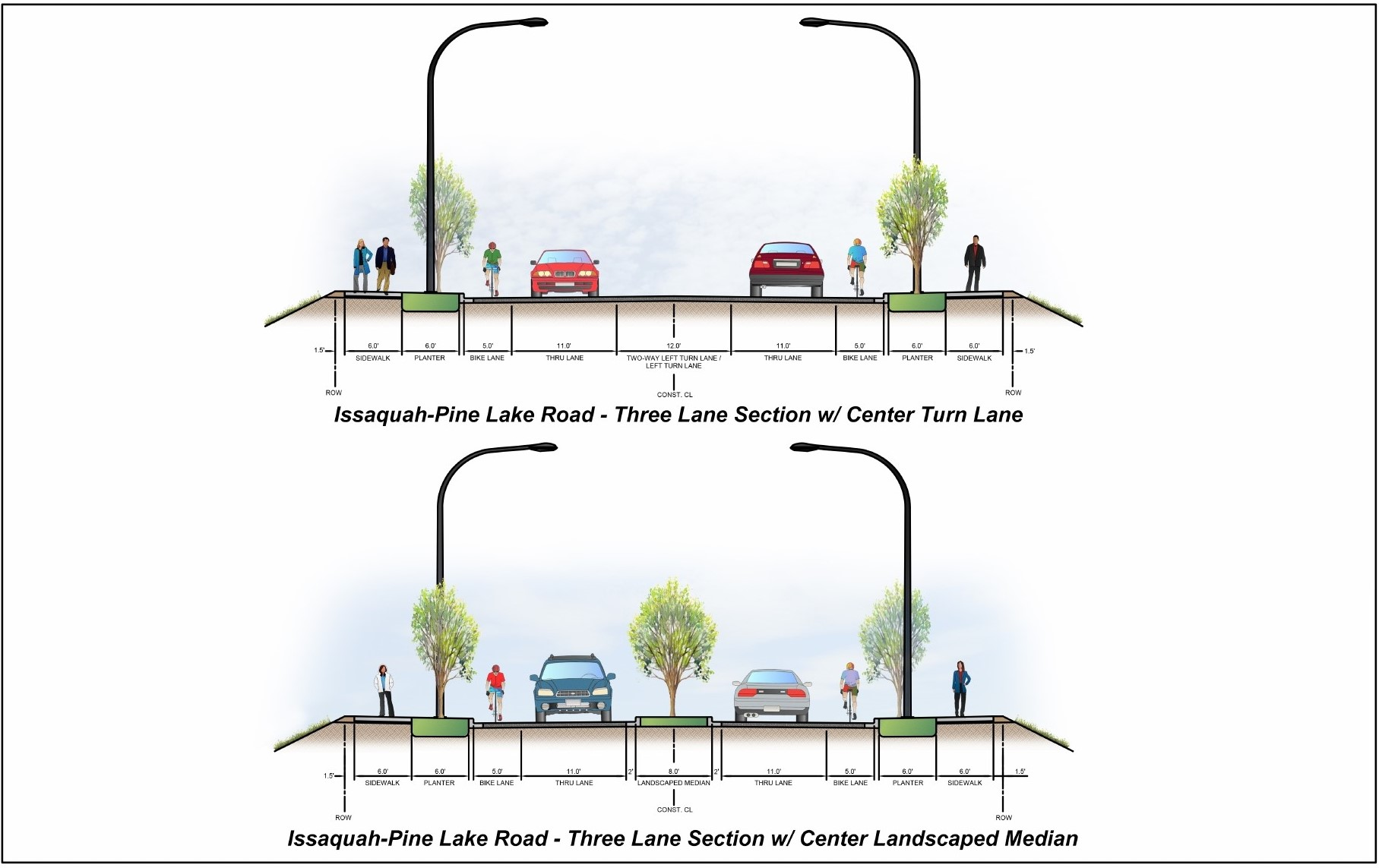 two different cross-sections of Issaquah-Pine Lake Road. The first is a three-lane section with center turn lane.