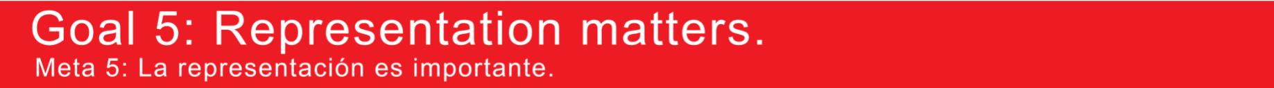 Red bar with text that links: Goal 5: Representation matters. / Meta 5: la representación es importante