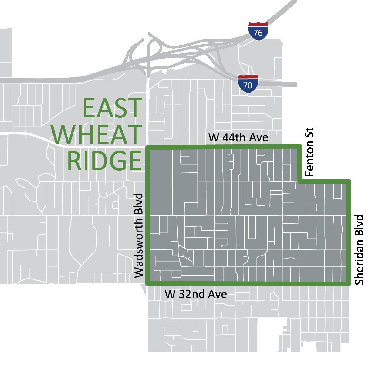 Map of East Wheat Ridge