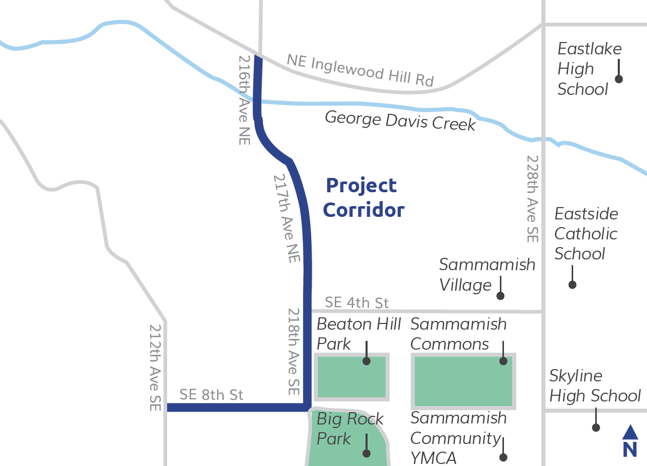 Map showing the SE 8th St. & 218th Ave. Corridor