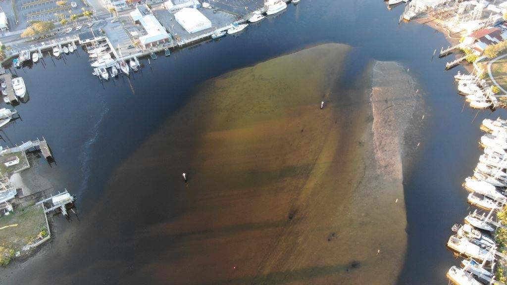 Aerial Image of the Anclote River in the area where the dredge project is proposed.