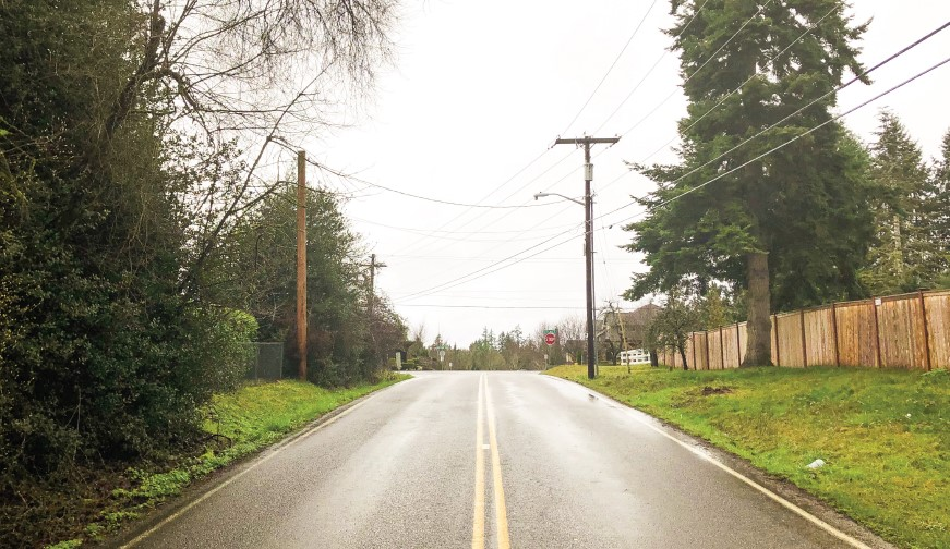Section of SE 8th St as it exists today, as a two-lane road with double yellow lines and grass and power lines on either side.
