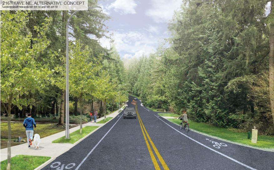 Street-level visualization of the alternative concept design, looking south on 216th Ave NE. The visualization shows a two-lane road with bike lanes on both sides, and people walking on a sidewalk on the east side of 216th Ave NE. There are light poles located on the landscape buffer between the sidewalk and bike lane on the east side.