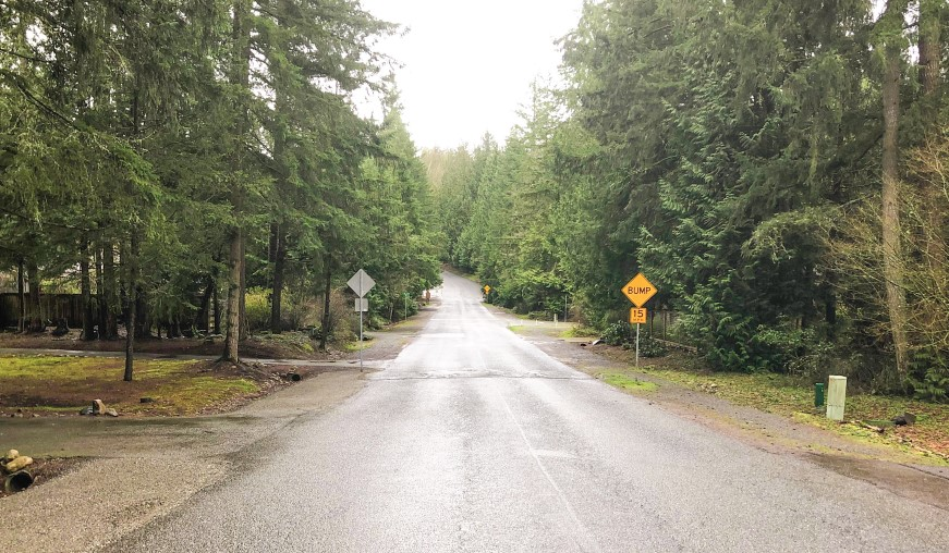 Section of 216th Ave NE as it exists today, as a two-lane road with speed bumps and gravel shoulders