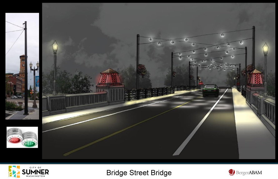 Rendering of new bridge at night with lanterns glowing red