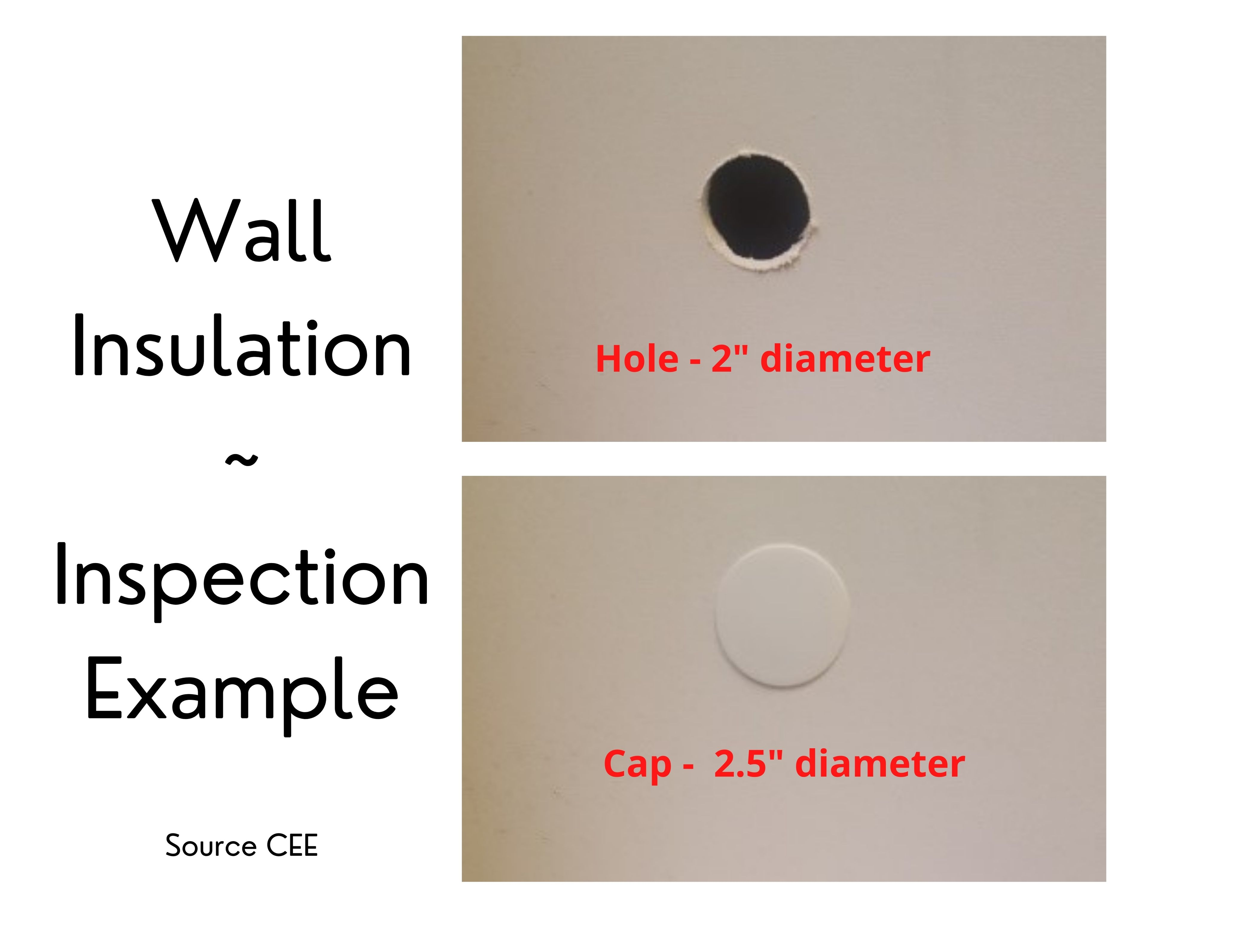 Photos of wall insulation inspection hole  2 inches diameter and cap 2.5 inches diameter.