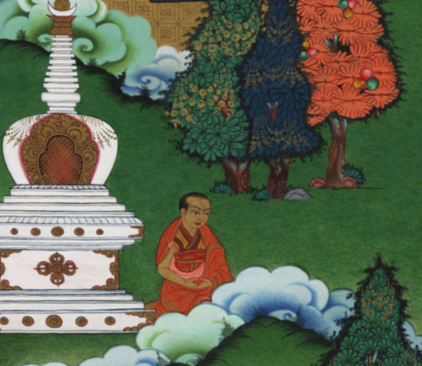 The young Dalai Lama meditates by a stupa after having entered Narthang Monastery.