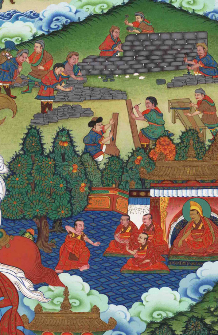 The building of Lithang monastery in Eastern Tibet. Monks practice debate in the presence of the Dalai lama in the courtyard of the completed monastery.