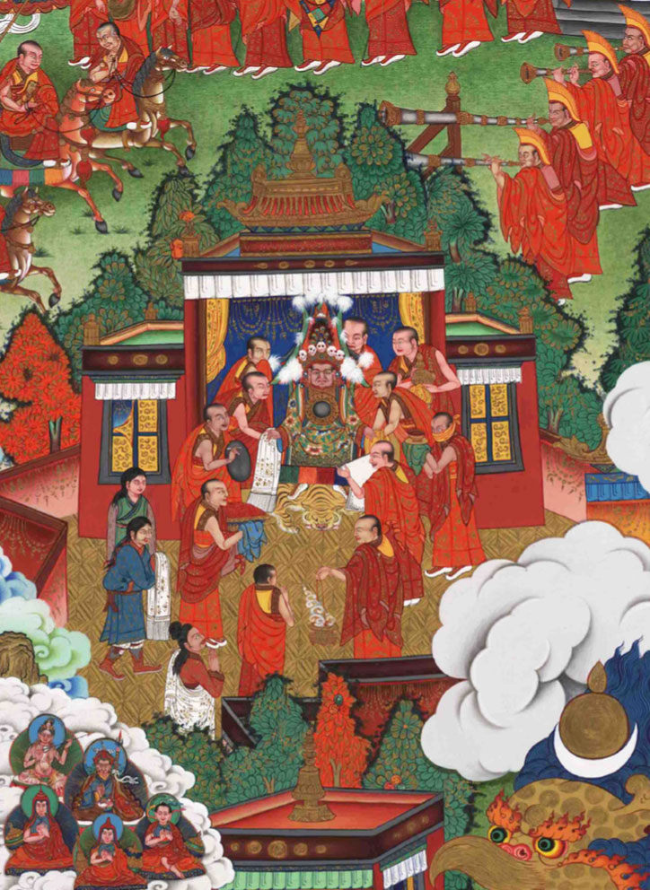 The Oracle of Nechung in trance advising Subrabpa, the chief attendant of the Second Dalai Lama to journey to the village where he believed the incarnation of his teacher had taken birth.