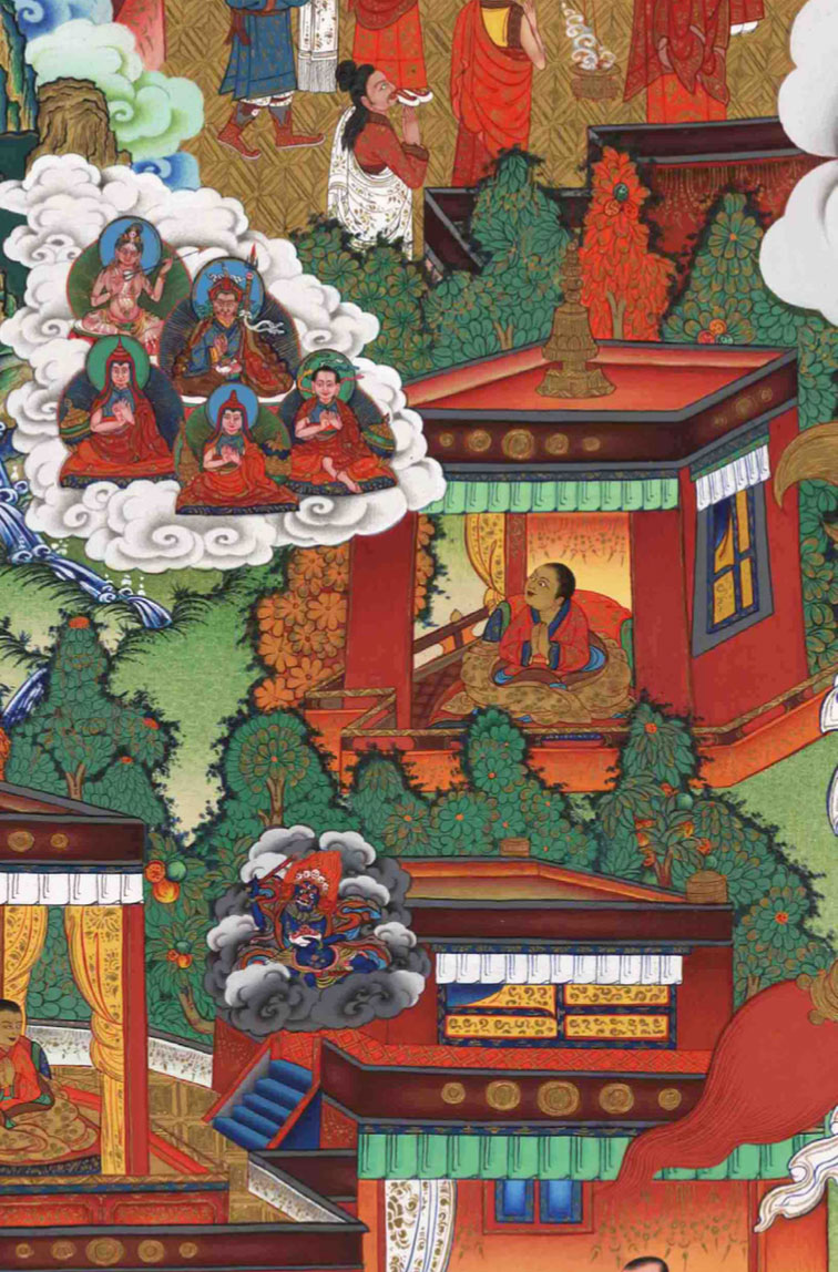 Young Ranu Shechok has a vision of Padmasambhava, Tilopa and Je Tsongkhapa.