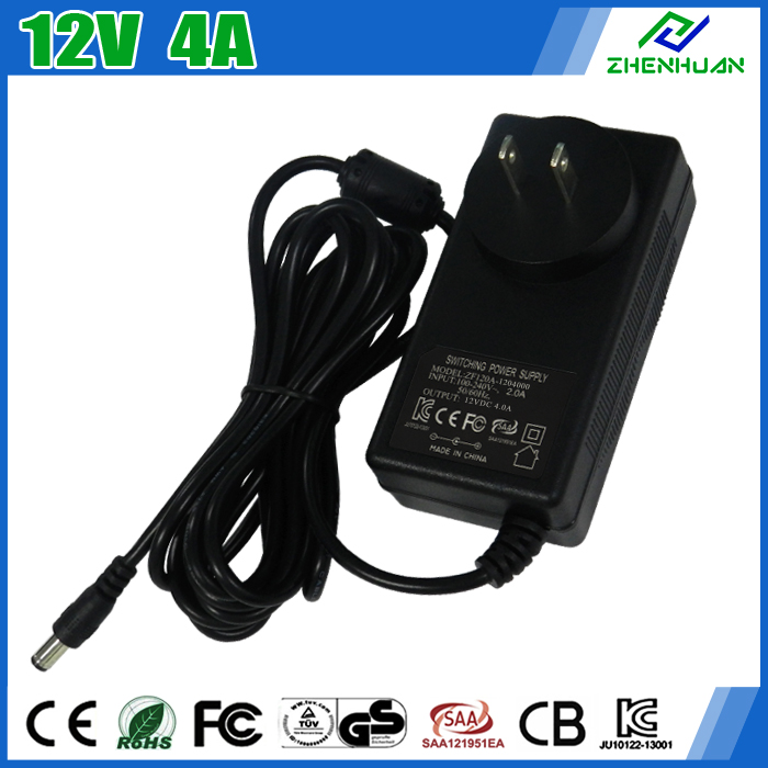 Wall Mounted Adapter Switch Power Supply 12V 4A 48W