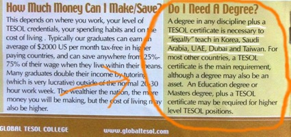 Global TESOL College Lies