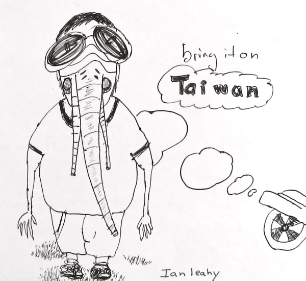A man prepared for Taiwan with his gas mask