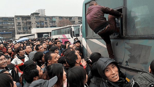 crowded bus station in china
