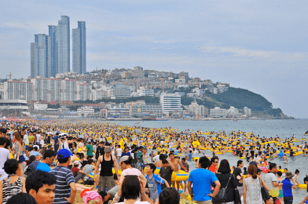 crowded haeundae beach korea