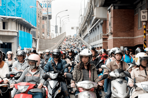 Scooters in Taipei during rush hour