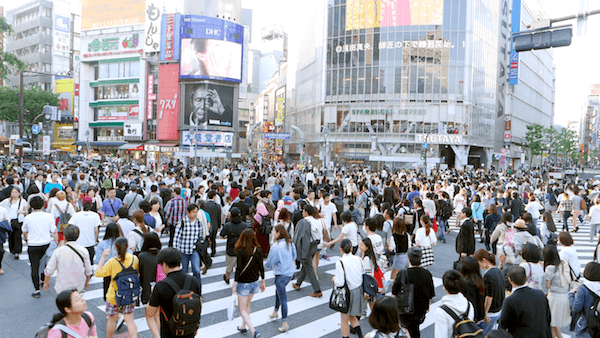 A busy Shibuya crossing