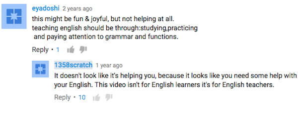 Youtube comments about grammar and teaching ESL