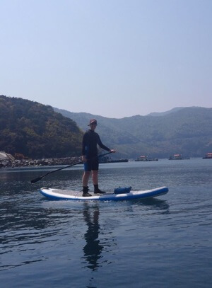 Jackie paddleboarding in Korea